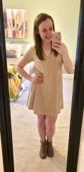 blush suede dress with gray booties