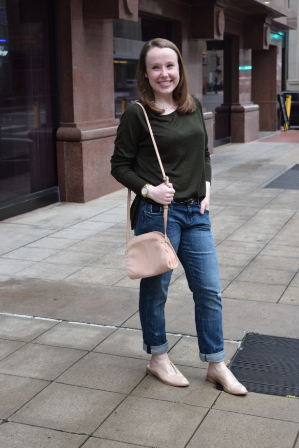 boyfriend jeans with olive sweater and blush oxfords and crossbody