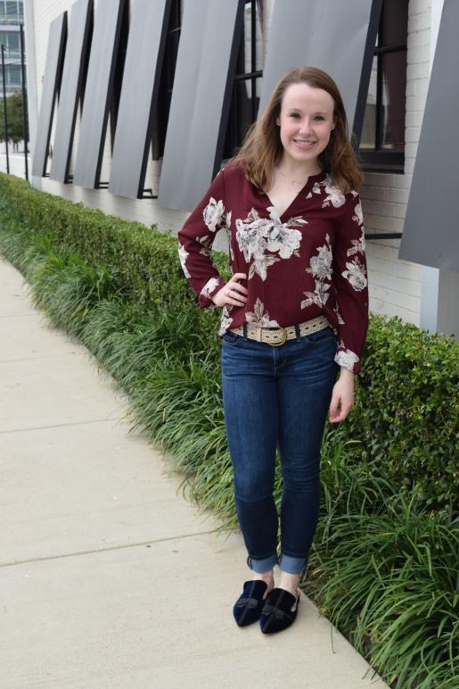 skinny jeans with oxblood floral top, navy velvet slip ons
