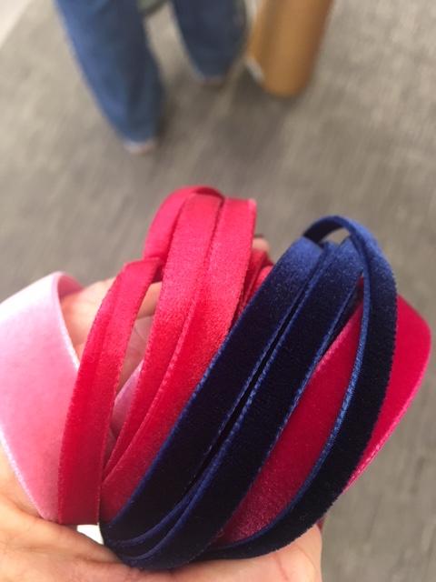 pink and navy velvet ribbon - thin